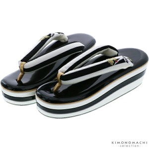 f84c756c27c73f 振袖・袴用 草履単品 フリーサイズ「白×黒 松、鶴の刺繍