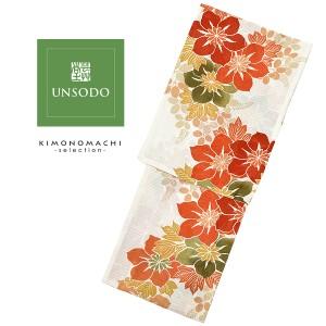 UNSODO ブランド浴衣単品 「赤オレンジ緑の花(9U-11)桂友同机会」 日本製 浴衣 レディース Fサイズ 女性浴衣