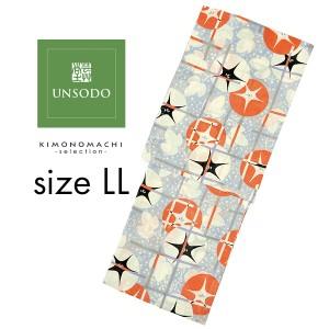 UNSODO LLサイズ ブランド浴衣単品 「薄青地に格子朝顔(9U-1)」 日本製 浴衣 レディース 大きいサイズ 女性浴衣