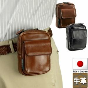 66aad28a18 日本製 ベルトポーチ メンズ ウエストポーチ 本革 牛革 レザー 鍵 携帯 小銭入れなど