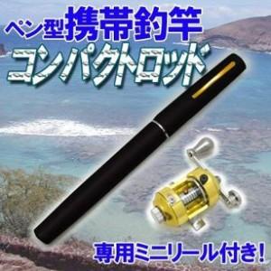ペン型 携帯釣竿 コンパクトロッド 専用ミニリール付き 黒
