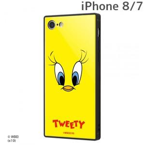 ☆ ルーニー・テューンズ iPhone8 iPhone7 専用 耐衝撃ガラスケース KAKU/トゥイーティーフェイス IQ-WP7K1B/TW001 (メール便送料無料)