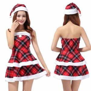 fc99ec953372c クリスマス・サンタコスプレセット!キュートなチェック柄デザイン クリスマスイベントに!帽子