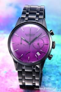 キャサリンハムネット 腕時計 KATHARINE HAMNETT クロノグラフ6 ブラック×パープル KH23C4-B44