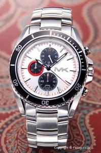 マイケルコース 腕時計 メンズ ランシング クロノグラフ シルバー×ブラック(レッドポイント) MK8339