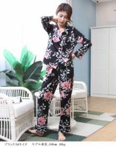 ルームウェア  大花柄 パジャマ 上下セット 寝間着 部屋着 花 フラワー 長袖 トップス パンツ かわいい 上品  rwm1801-0741