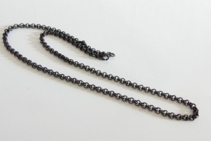 ステンレス・甲丸チェーン黒色4mm選択可45cm・50cm/(メイン)ブラックPVDコーティング金属アレルギー対応サージカルス送料無料stainlesscp