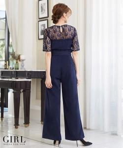 パーティードレス ワンピース パンツ ロングドレス 結婚式 二次会 大きいサイズ トップス ボトムス セットアップ レース モデル美香着用