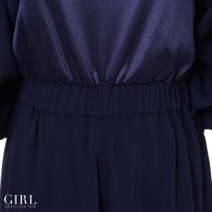 パーティードレス パンツドレス ワンピース ドレス お呼ばれ 大きいサイズ オールインワン 二次会  オフショルダー 袖付き ワイドパンツ