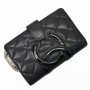 4bd7207e45b0 【定番人気】【中古】シャネル 二つ折り財布 カンボン レディース ブラック h21433