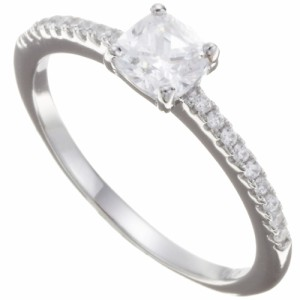 リング、指輪、シルバー925製、ジルコニアが煌めくハーフエタニティリング、スクエア型のczダイヤモンド、9号、11号、13号