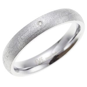メッセージが刻印されたリング サージカルステンレス 一粒天然ダイヤ メンズ ユニセックス 低金属アレルギー 送料無料