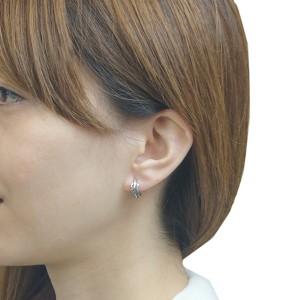 メンズスタッドピアス シルバー925 シルバー 両耳 フェザー 羽 ハーフリング シンプル 燻 いぶし銀 シルバーアクセサリー 送料無料
