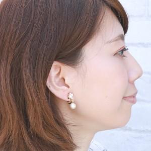 8mm珠パールとラインストーンのイヤリング ノンホールピアス イアリング ニッケルフリー シンプル きれい 清楚 かわいい