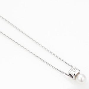ネックレス 淡水パール キューブ ダイヤモンド サージカルステンレス 低アレルギー 小ぶり