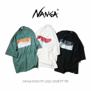 ナンガ NANGA Tシャツ ナンガ スノー マウンテン ロゴ ルーズ フィット ティー NANGA SNOW MT LOGO LOOSE FIT TEE N1sT ホワイト ブラッ