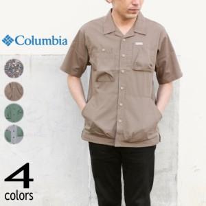 コロンビア Columbia ウェア ヒューソン パーク ショート スリーブ シャツ Hewson Park Short Sleeve Shirt PM0069 ブラックキャンピング