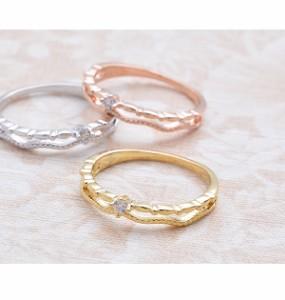 リング 指輪 ピンキーリング 2連風 キュービック ジルコニア シンプル Luxury's 重ねづけ  ゴールド シルバー ピンクゴールド