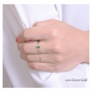 指輪 リング スクエア キュービック ジルコニア ビジュー カラー キラキラ Luxury's ラグリーズ ゴールド シルバー 送料無料