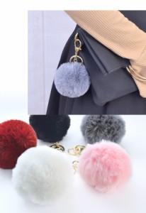 ■ キーホルダー バッグチャーム ファー ふわふわ もこもこ キーリング シンプル チャーム ポンポン ファーボール 丸