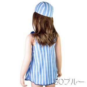 【あす着】(パケット便送料無料)gelato toddler 女児・ダンガリーストライプ ワンピース 帽子付き(キッズ/子供水着)2835