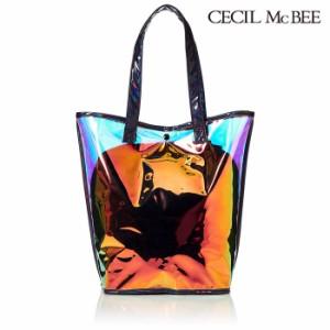 a82c89054106 あす着 セシルマクビー CECIL Mc BEE ビーチバッグ オーロラ素材 バケツ型バッグ プールバッグ