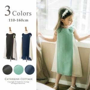 子供ドレス 肩リボンの配色切替Aラインドレス 女の子 キッズ ジュニア 110 120 130 140 150 160cm TAK PC845