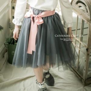 キッズ ジュニア フォーマル ウエストリボンフィッシュテールチュールスカート  結婚式 発表会 110 120 130 140 150 160 cm TAK PC880A