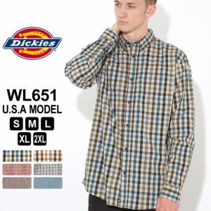 [割引クーポン配布] ディッキーズ シャツ 長袖 チェック柄 WL651 メンズ ボタンダウンシャツ|大きいサイズ USAモデル Dickies