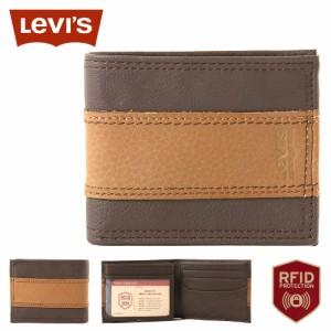 リーバイス 財布 二つ折り 小銭入れなし 中ベラ付き パスケース 本革 31LV240017 USAモデル ブランド Levis