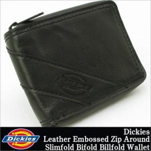 [割引クーポン配布] ディッキーズ 財布 二つ折り 小銭入れなし ラウンドファスナー メンズ 本革 レザー 31DI1308|USAモデル Dickies|二