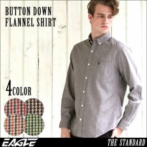 秋新作 【送料無料】 シャツ 長袖 厚手 メンズ ボタンダウン フランネル チェック柄 ネルシャツ 大きいサイズ 日本規格|ブランド EAGLE