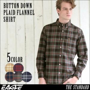 【送料無料】 シャツ 長袖 厚手 メンズ ボタンダウン フランネル チェック柄 ネルシャツ 大きいサイズ 日本規格|ブランド EAGLE THE STA