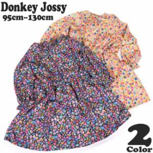 春物SALE 子供服 女の子 丸高衣料 Donkey Jossy 花柄 タイリボン 長袖 ワンピース【18SP-J2500】N26306 M