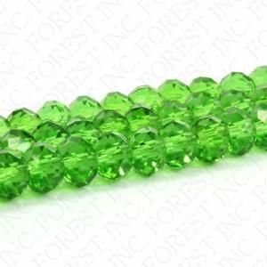 クリスタルガラスビーズ ボタンカット  クリアグリーン 約8×6mm 1連約72粒〔GR14-8m〕