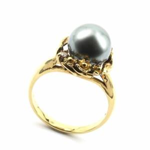 K18 ダイヤ 黒真珠(パール) 宝石リング#12 〔T-48〕