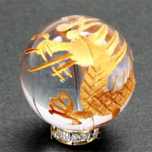 天然石 天然水晶 金彫り 四神獣  ビーズ(青龍)【粒売り】約14mm 〔RYC20-14m〕