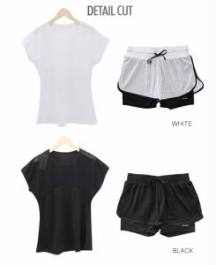 スポーツウェア セットアップ SET UP Tシャツ フィットネス スポーツ ヨガ ジム ランニング 吸汗速乾■fit848