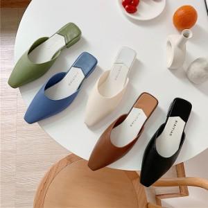 春新作 パンプス レディース フラット ミュール サンダル おしゃれ かわいい 大きいサイズ 靴 シューズ ^bo-634^