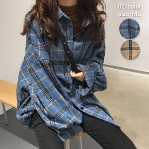 秋新作 シャツ ブラウス レディース 長袖 おしゃれ チェック ゆったり 大きいサイズ 韓国 かわいい (送料無料) ^v126^