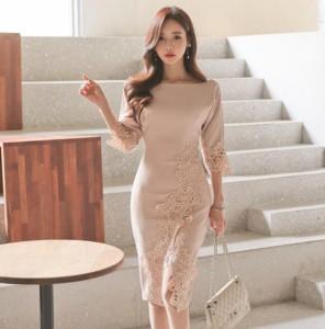即納 上品 刺繍飾り 五分袖 上質 ミディアム 膝丈 きれいめ セクシー タイト ワンピース ドレス 結婚式 パーティ