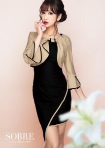 08c86ad720146  SXXLまで  キャバドレス キャバ ドレス 大きいサイズ ソブレ ミニ ワンピ ボレロ風パイピング