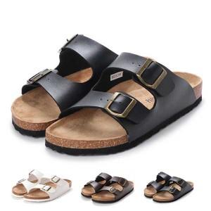 サンダル コンフォートサンダル ダブルベルト フラット 合皮 コルク シンプル シューズ 靴 メンズ ブラック SALE セール