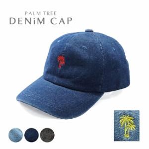 【送料無料】コットン100%パームツリー刺繍ウォッシュドデニムキャップレディースメンズシンプル綿ヤシの木椰子南国リゾートロゴ帽子