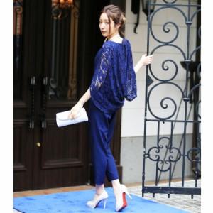 レーススリーブセットアップ パンツドレス 結婚式 パーティードレス パンツ ドレス ワンピース パーティー 20代 30代 40代 お呼ばれ