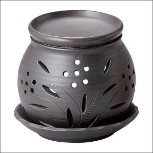 送料無料 富仙黒丸茶香炉 Y-1905 茶香炉 アロマポット リラックス 消臭 癒し インテリア 芳香器 キャンドル