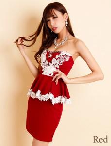 1896efb7aa43f   ゴージャスフラワーレース×小粒ビジュー装飾☆バイカラーぺプラムミニドレス  ナイト、パーティー、キャバドレス