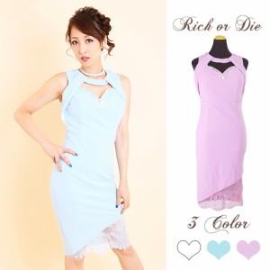 f075f483141fb 裾レース重ねパール&クリスタルビジュー装飾SEXYドレス  キャバドレス・小悪魔
