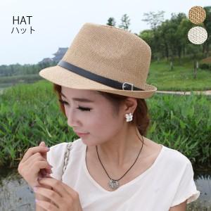 帽子麦わら帽子大人ハットストローハットレディース紫外線つば広中折れハットベージュ22N38919