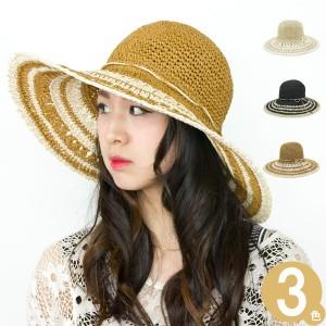 帽子 レディース つば広 UV対策 ハット 女性用 女優帽 HAT リボン 春夏 麦わら マリン / Claraマリーナつば広ハット